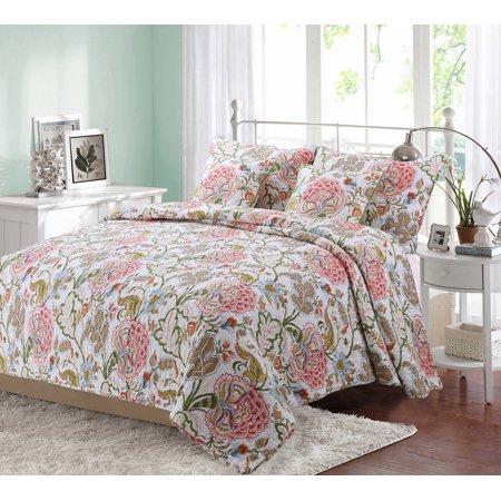 Queen Camellia 100 Hypoallergenic Cotton 3 Piece Floral Quilt Set Bedroom Quilt Bedding King