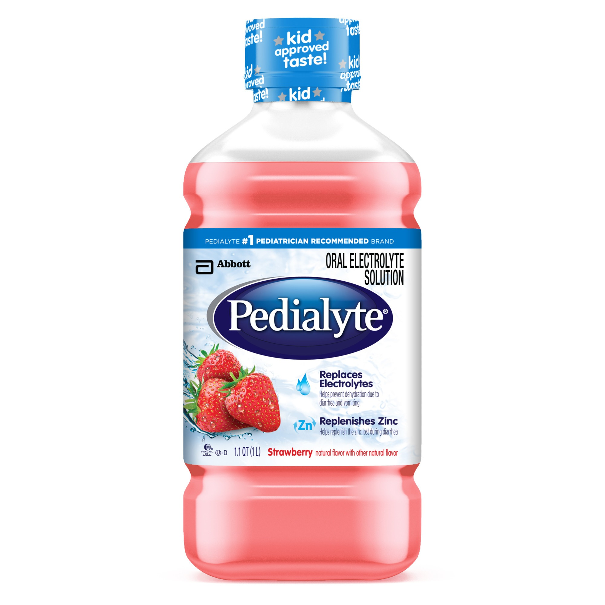 Pedialyte Oral Electrolyte Solution, Strawberry Flavored, 1-L
