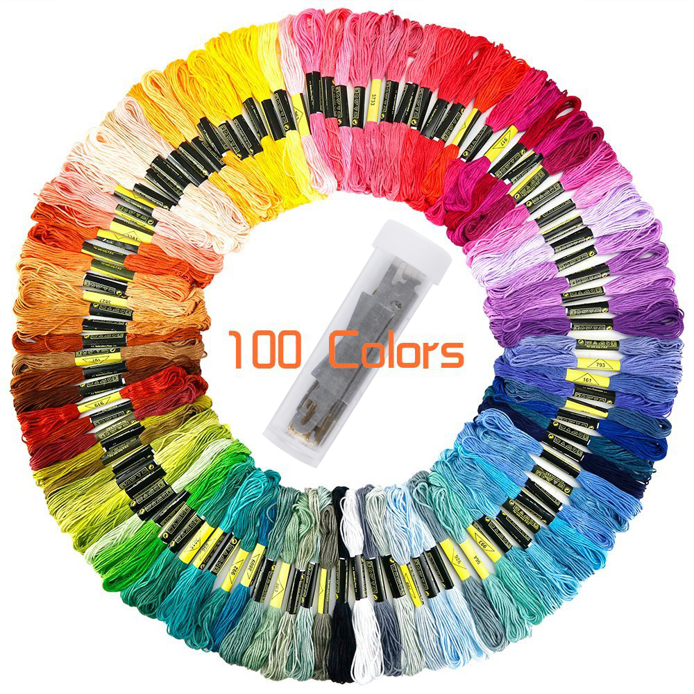 Rainbow Color Embroidery Floss, Cross Stitch Embroidery Thread, Friendship Bracelets String Floss, Crafts Stapled Floss, 100 Colors Skeins Per Pack, 30Pcs Set of Embroidery Needles, 2 Threader