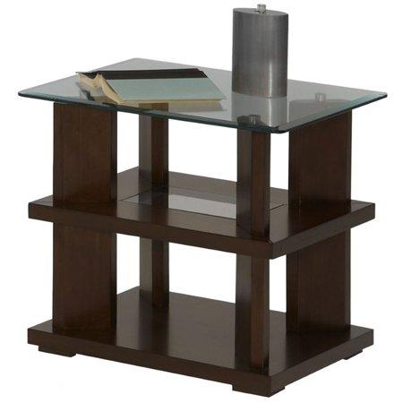Progressive Delfino Glass Top End Table in Burnished Cherry