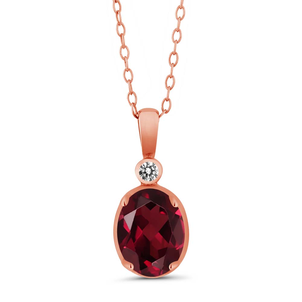 1.41 Ct Oval Red Rhodolite Garnet and White Diamond 18k Rose Gold Pendant