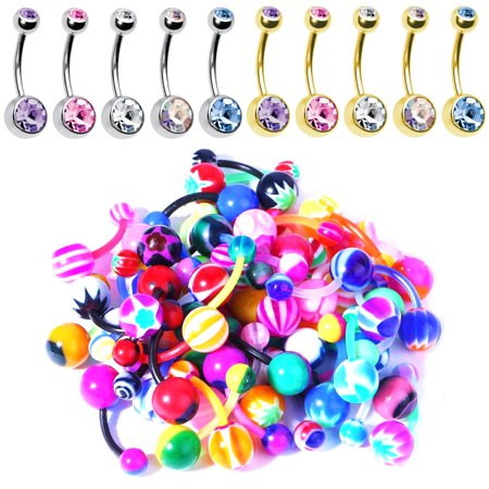 Acrylic Piercing Jewelry - BodyJ4You 60PC Belly Button Ring Set 14G Mix CZ Bioflex Bar Acrylic Banana Body Piercing Jewelry