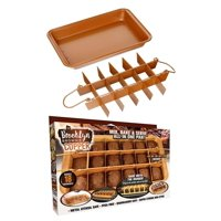 Brooklyn Brownie Copper by Nonstick Baking Pan with Built-In Slicer, Ensures Perfect Crispy Edges, Metal Utensil and Dishwasher Safe,Walmartbines nonstick, super.., By GOTHAM STEEL