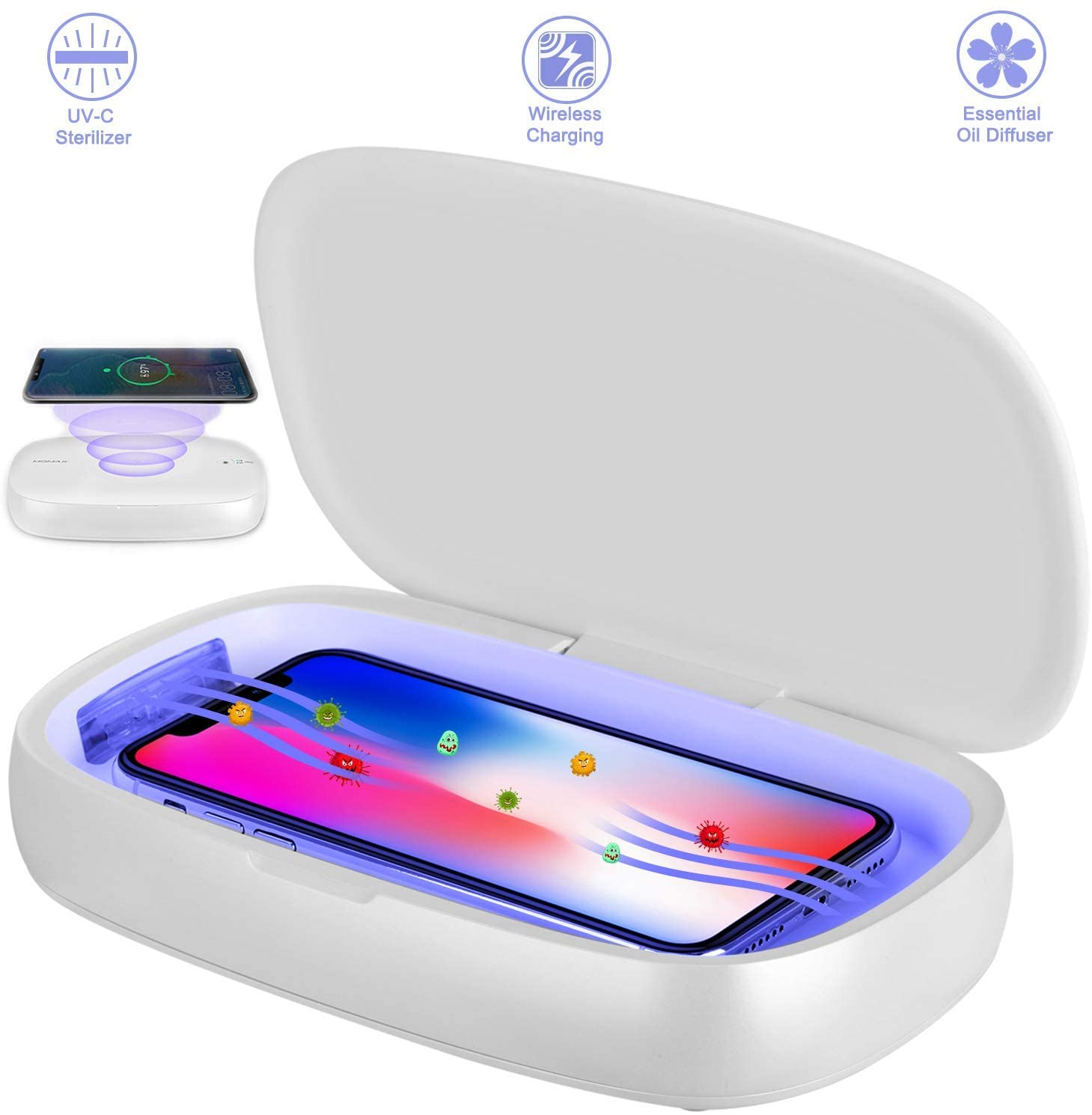 Powerful Phone Sanitizer UV Lights Destroy 99.9/% of Bacteria Quickly While Our Wireless Charging Station Keeps Your Phone Charged CHRGR UV Cell Phone Sanitizer Sterilizer and Wireless Charger
