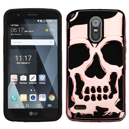 Insten Skullcap Shock Absorbing Hybrid Hard Plastic/TPU Dual Layer Cover  Case for LG Stylo 3 Plus - Rose Gold/Black (Bundle with Micro USB Cable)