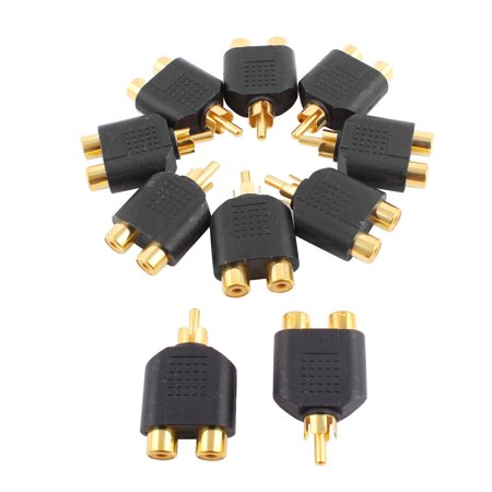 10pcs RCA Male Stereo Jack to Double Female Video Audio Plug Adapter Coupler