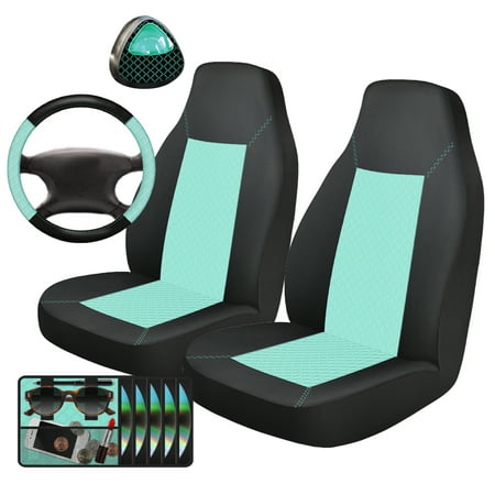 Auto Drive 5-Piece Seat Cover and Car Steering Wheel Kit, Mint