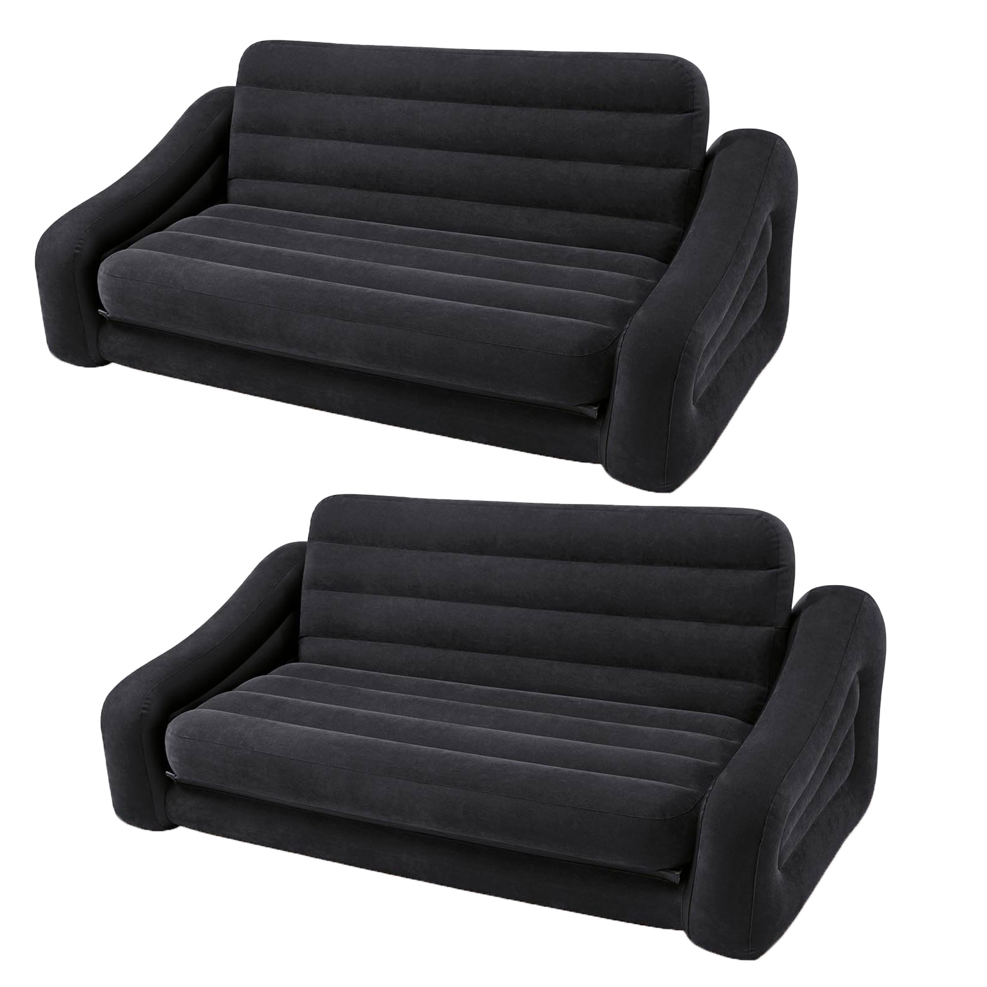 Intex Inflatable Queen Size Pull Out Futon Sofa Couch Bed, Dark Gray (2 Pack) by Intex