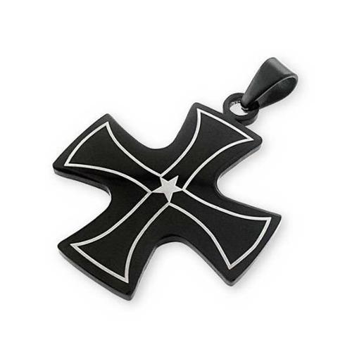 Solid Rock Jewelry 121097 Pendant-Steel Cross, Sterling Silver