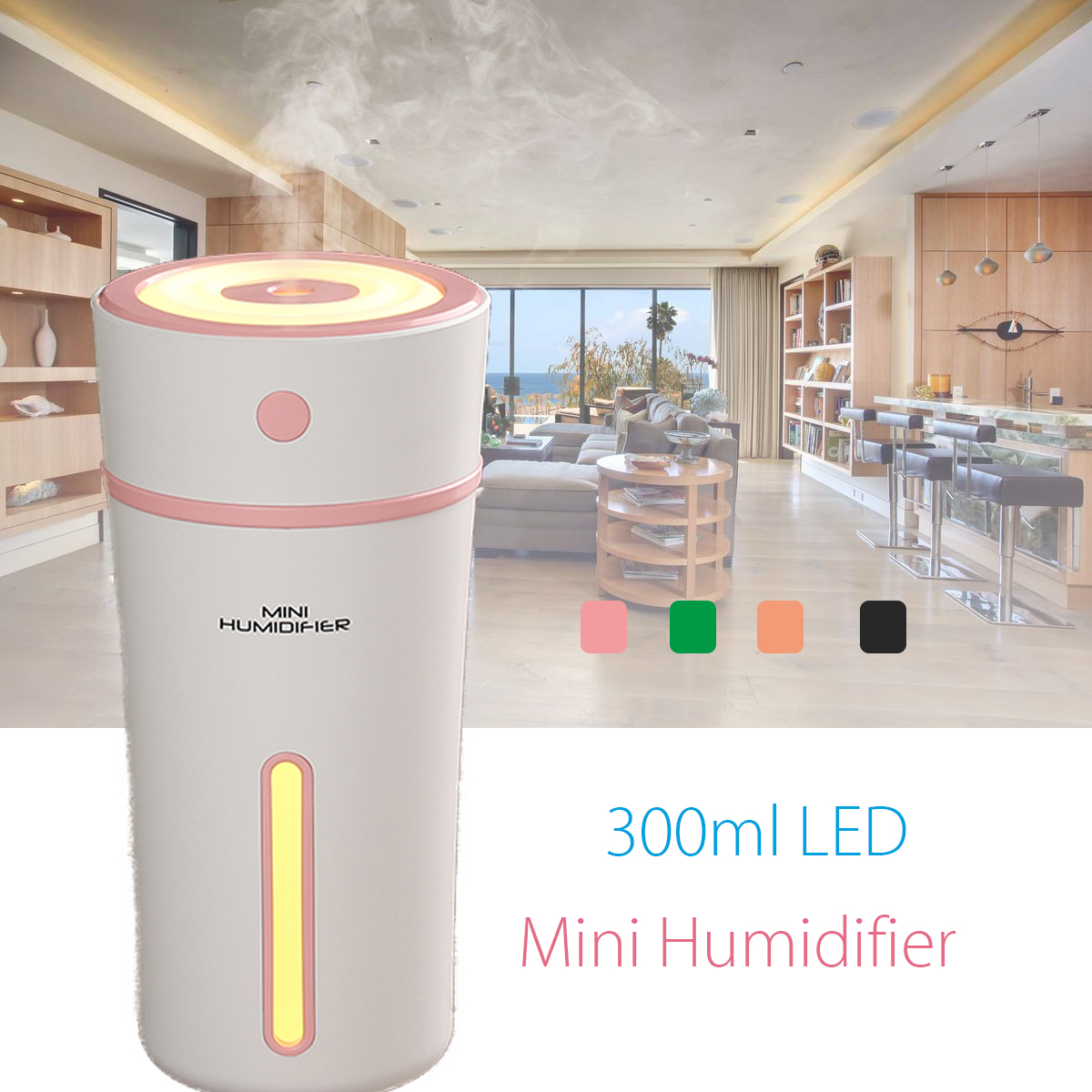 300ml Portable USB LED Ultrasonic Car Home Mini Humidifier Essential Oil Diffuser Mist Purifier