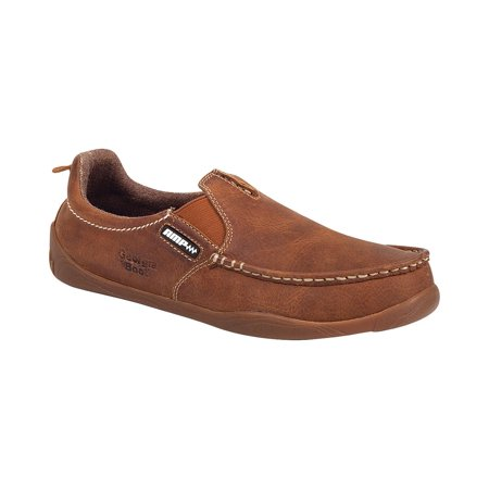 Georgia Men's Cedar Falls Moc-Toe Slip-On Shoes - (Brown Steel Toe Slip)
