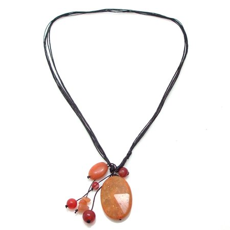 - Cotton Wax Rope Teardrop Statement Orange Carnelian Stone Pendant Necklace
