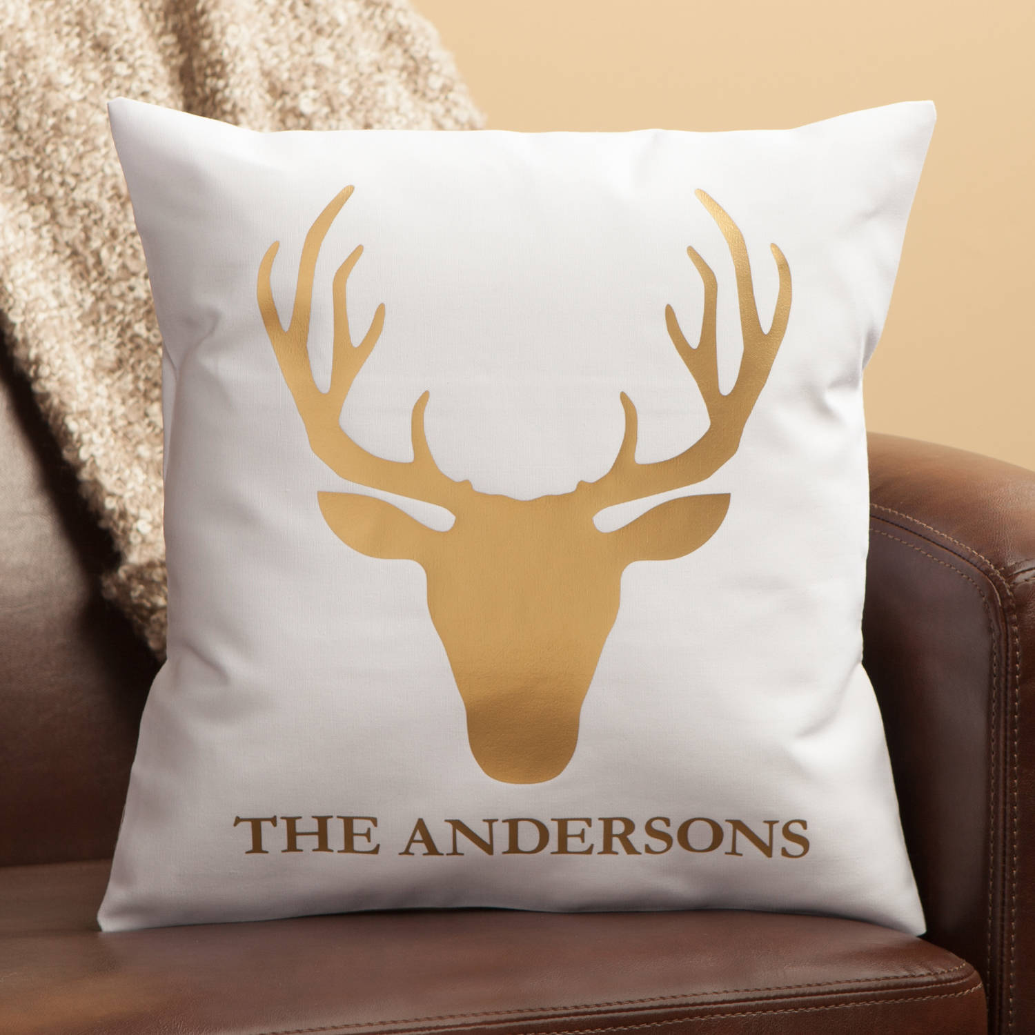 Personalized Gold Deer Pillow