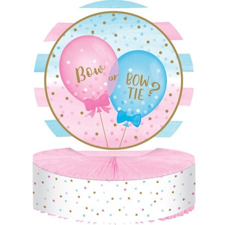 Boy Honeycomb Centerpiece - Gender Reveal Balloons Party Boy Girl 1 Ct Honeycomb Centerpiece