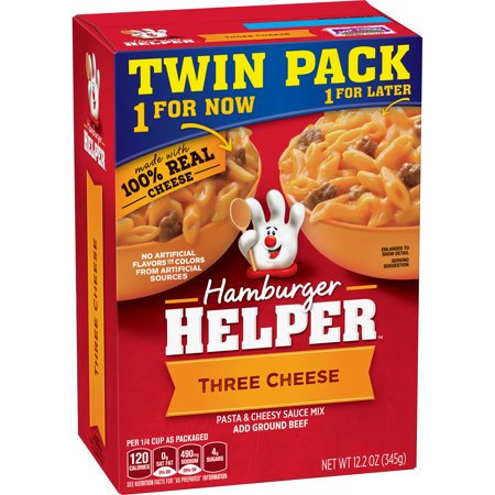 (3 Pack) Hamburger Helper Pasta & Cheesy Sauce Mix Three Cheese 12.2