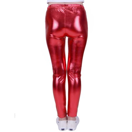 0495613b285fc HDE Girls Shiny Wet Look Leggings Kids Liquid Metallic Footless Tights  (Pink, ...