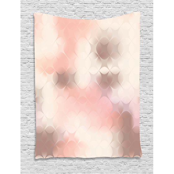 Peach Tapestry, Abstract Square Shapes with Cross Pattern Warm Color ...
