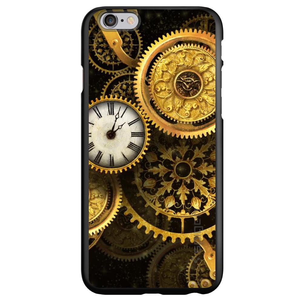"CUSTOM Black Spigen Thin Fit Case for Apple iPhone 6 PLUS / 6S PLUS (5.5"" Screen) - Clocks Clockwork Gold"