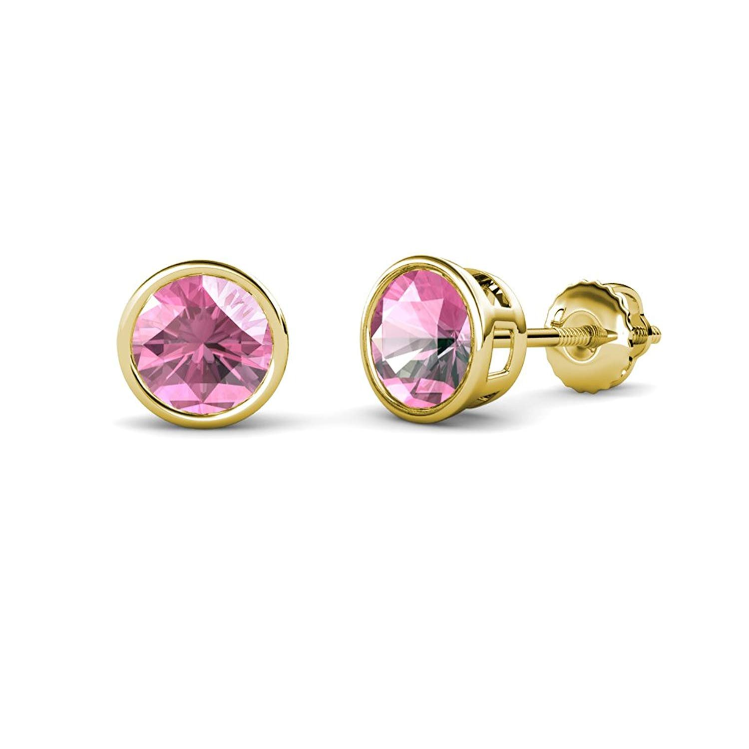 Pink Tourmaline Bezel Set Solitaire Stud Earrings 2.00 ct tw in 14K Yellow Gold by TriJewels