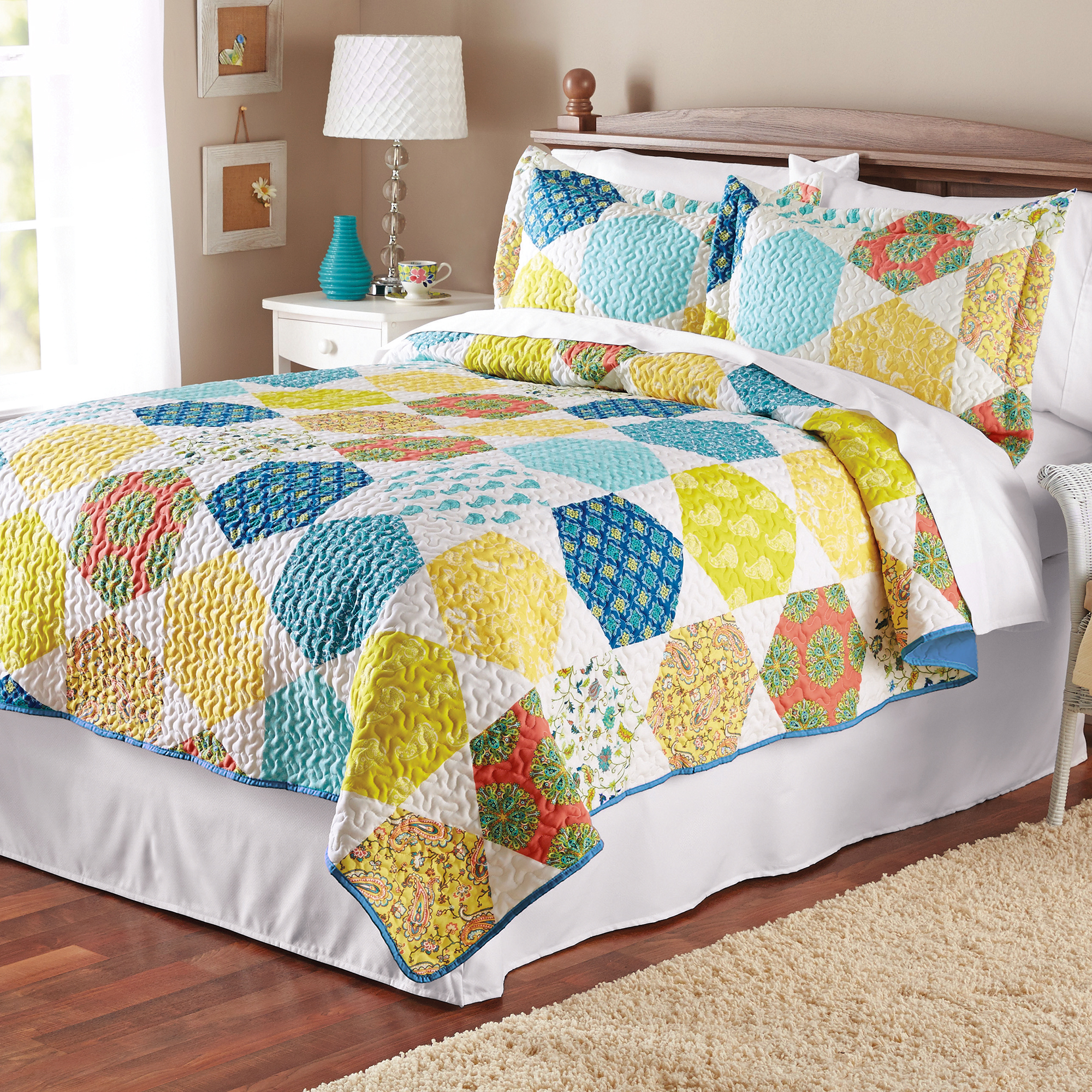 Mainstays Multicolor Hexagon Quilt Collection by JIANDE CITY YAOXIN KNITTING & TEXTILE CO. LTD