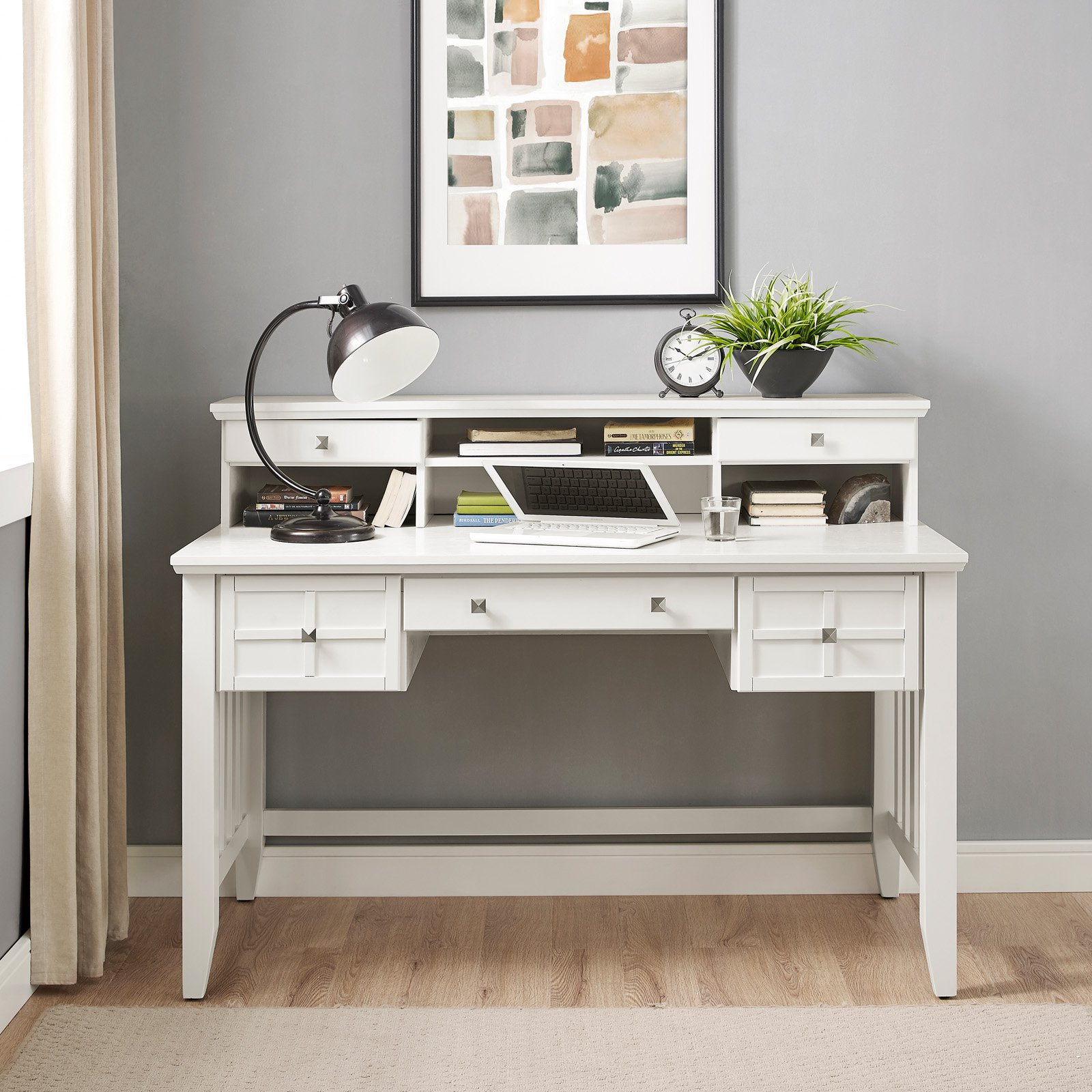 Adler Computer Desk with Hutch in White Finish