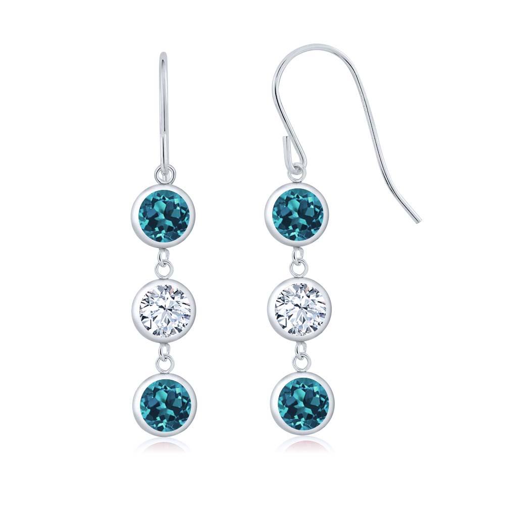 3.00 Ct Round London Blue Topaz White Topaz 925 Sterling Silver Earrings