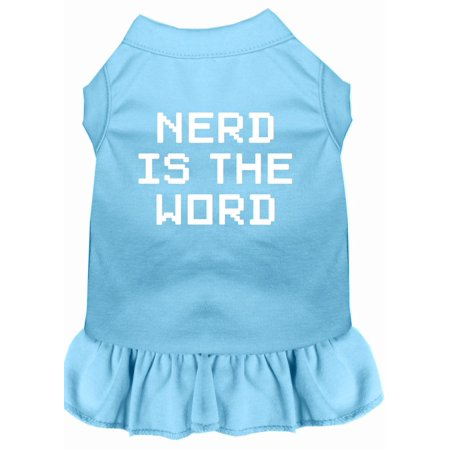 Nerd Is The Word Screen Print Dress Baby Blue Xl (16)