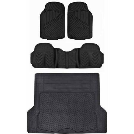 Motor Trend Heavu Duty Floor Mats for Car SUV Truck with Cargo Trunk Mat, 100 Percent Odorless, Clean Rubber, Black Beige Gray