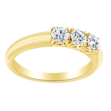 Round Cut Simulated White Moissanite Three Stone Band Ring In 14K Solid Yellow Gold