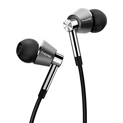 1MORE Triple Driver In-Ear Headphones (Earphones/Earbuds) with Apple iOS and Android Compatible Microphone and Remote (Silver)
