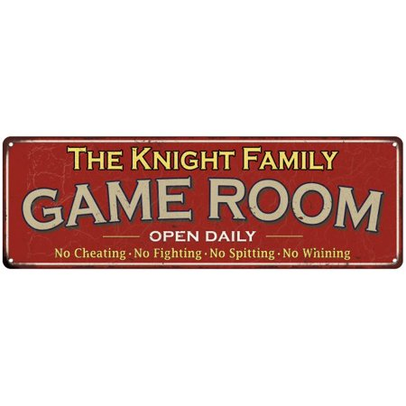 - The Knight Family Personalized Red Game Room Metal 8x24 Sign 108240038420