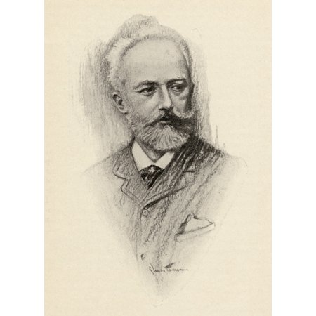 Pyotr Ilyich Tchaikovsky 1840-1893 Russian Composer Portrait By Chase Emerson American Artist 1874-1922 Canvas Art - Ken Welsh Design Pics (13 x 18)