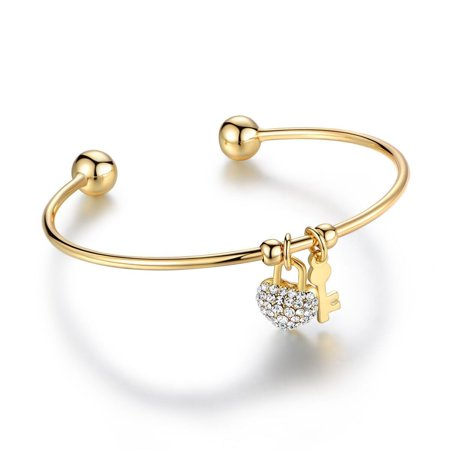 Clear Crystal Heart Charm (18K Gold Plated Gold and Clear Crystal Elements Heart Lock and Key Charm Bangle)