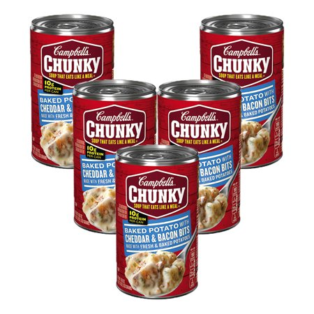 - (5 Pack) Campbell's Chunky Baked Potato with Cheddar & Bacon Bits Soup, 18.8 oz.