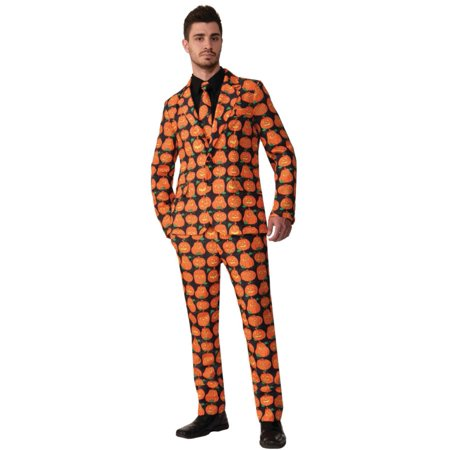 Black and Orange Pumpkin Suit Men Adult Halloween Costume - Standard