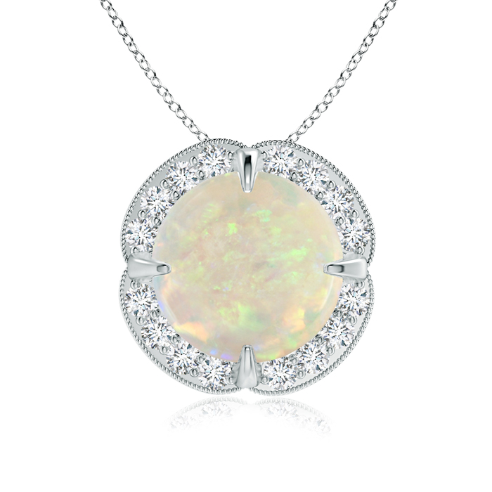 October Birthstone Pendant Necklaces Claw Set Opal Clover Necklace Pendant with Diamond Halo in 950 Platinum (9mm Opal)... by Angara.com