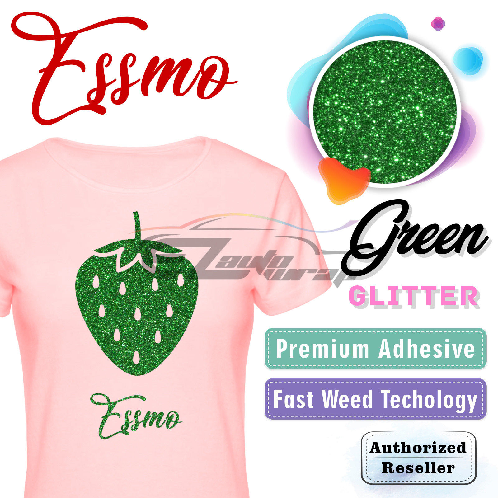 "ESSMO Green Glitter Heat Transfer Vinyl HTV Sheet T-Shirt 20"" Wide Iron On Heat Press 20""x12"""