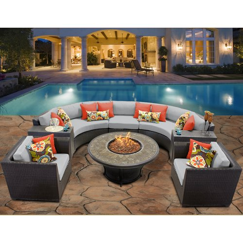 TK Classics Barbados 8 Piece Fire Pit Seating Group with ...