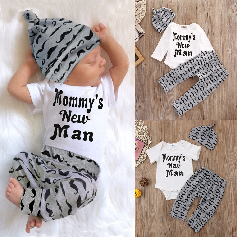 3PCS Newborn Infant Baby Boy Cotton Tops Romper+Pants Legging+Hat Outfits Clothes Set