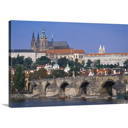 Great BIG Canvas   Tom Haseltine Premium Thick-Wrap Canvas entitled Eastern Czech Republic, Prague, St. Charles Bridge across the Vltava