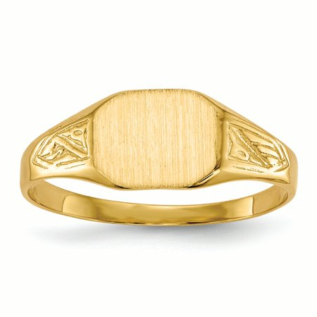 14K Yellow Gold 7.4 MM Rectangle Engravable Signet Ring, Size 6