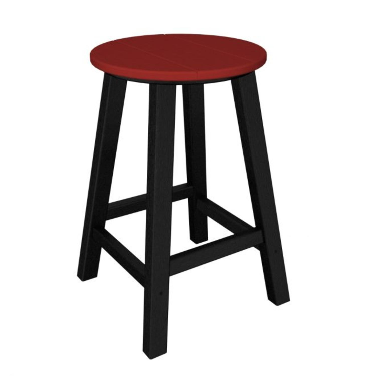 """Pack of 2 Recycled Earth-Friendly Bar Stools - Sunset Red w/ Black Frame-24.25"""""""