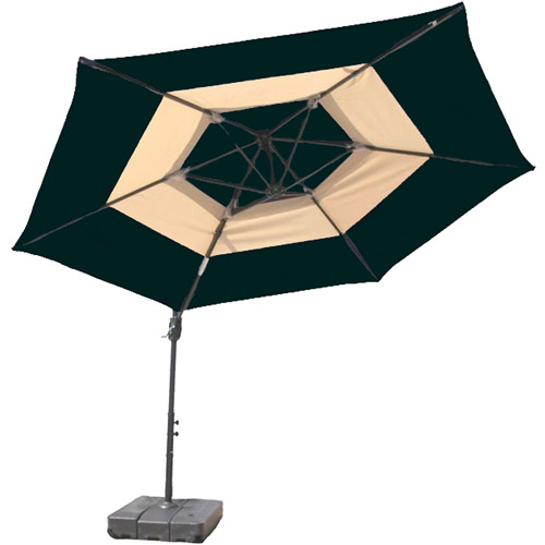 At Leisure 10' Round Offset 2-Tone Umbrella with Base by Outdoor Umbrellas