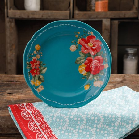 The Pioneer Woman Vintage Floral 8 5 Quot Teal Salad Plate