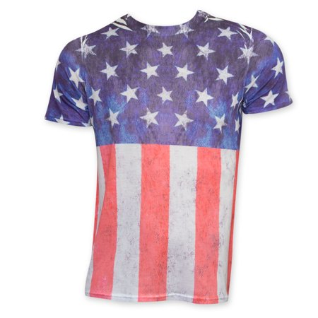 American Flag Distressed Sublimation Print Tee Shirt
