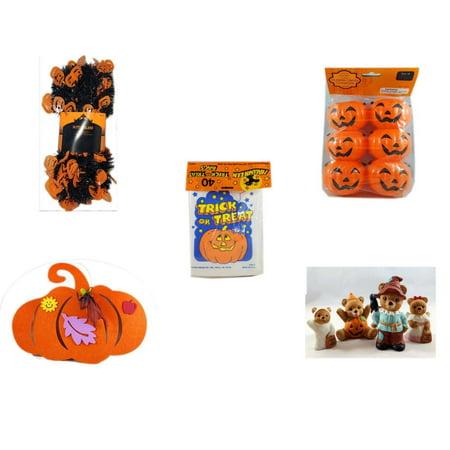Halloween Fun Gift Bundle [5 Piece] -  Black & Orange Pumpkin Garland 10 ft. - Party Favors Pumpkin Candy Containers 6 Count -  Trick or Treat Bags 40/ct -  Felt Pumpkin Decoration - Homco  Set No.