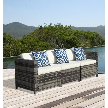 3pcs Patio Outdoor PE Wicker Armless  Sectional Sofa Set with  Cream White  Cushions,Two Corner sofas and One Armless sofa, Steel Frame, -