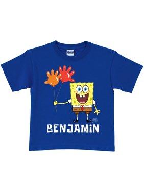 Personalized SpongeBob SquarePants Balloon Birthday Boys' Royal Blue T-Shirt