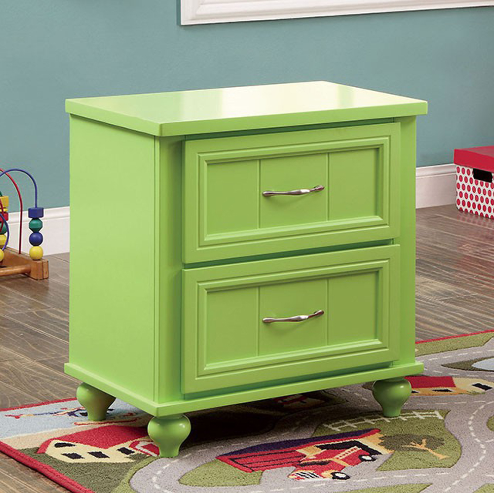 Benzara Lacey Contemporary Nightstand, Apple Green Finish