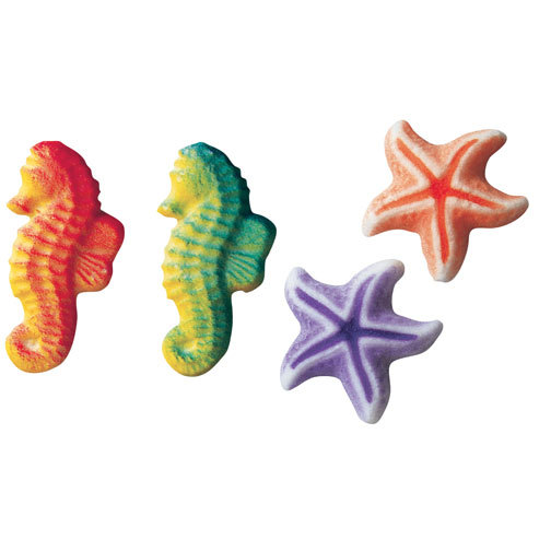 Sea and Starfish Assortment Sugar Decorations Toppers Cupcake Cake Cookies Birthday Favors Party 12 Count